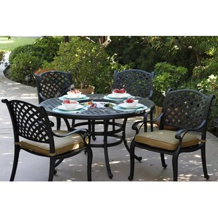 Fleur De Lis Living Lincolnville 5 Piece Round Dining Set with Cushions