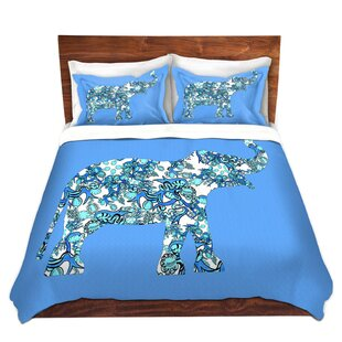 Bungalow Rose Willacoochee Susie Kunzelman Elephant II Ribbons Blue Microfiber Duvet Covers