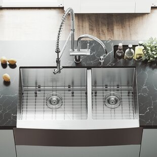 VIGO 36 inch Farmhouse Apron 60/40 Double Bowl 16 Gauge Stainless Steel Kitchen Sink with Dresden Chrome Faucet, Two Grids, Two Strainers and Soap Dispenser