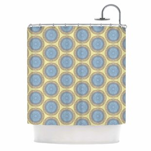 'Blue Gold Brocade' Shower Curtain by East Urban Home