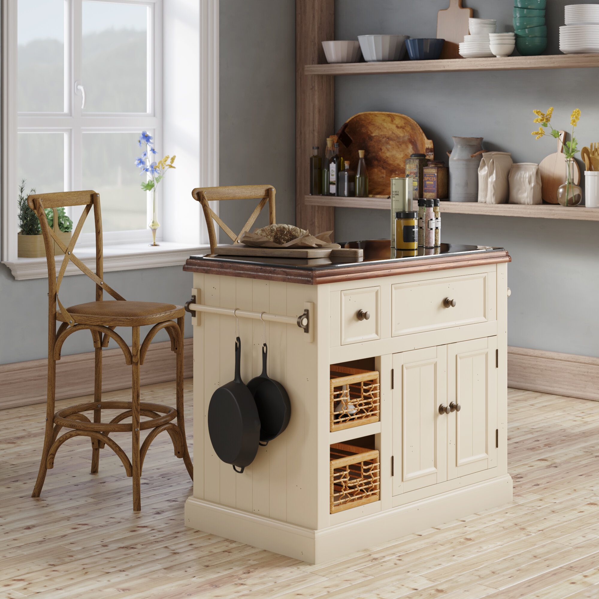 Birch Lane Eloy Kitchen Island With Granite Top Reviews Wayfair