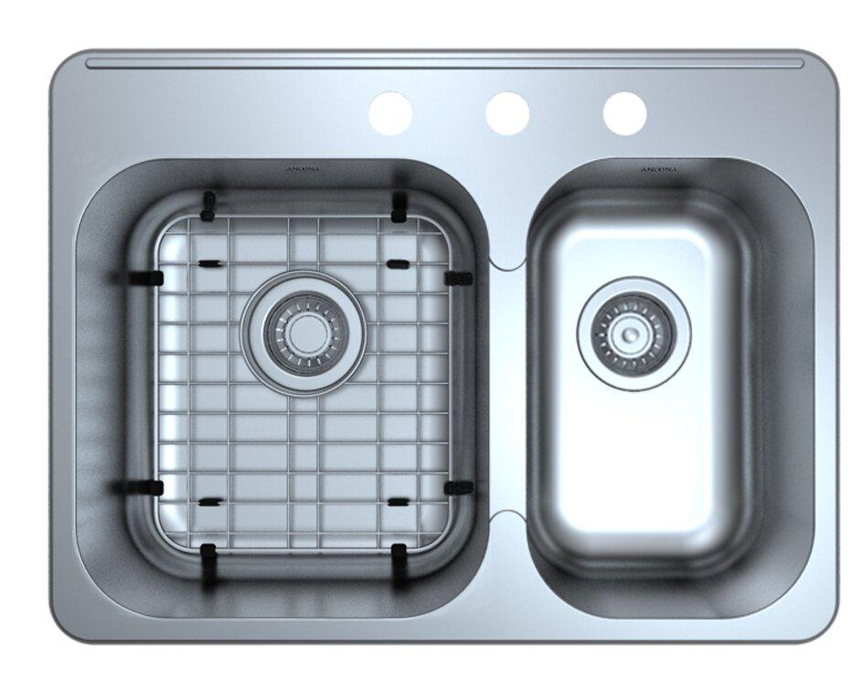 Double Bowl Kitchen Sinks Ancona capri drop in 271 x 204 double bowl kitchen sink with capri drop in 271 x 204 double bowl kitchen sink with grid and workwithnaturefo
