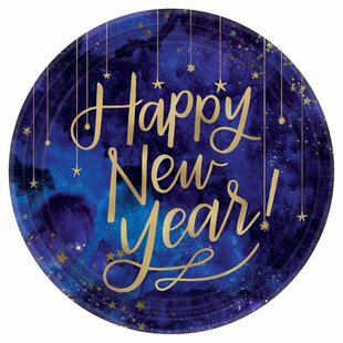 Midnight New Year's Eve Round Metallic Paper Dinner Plate (Set of 72)