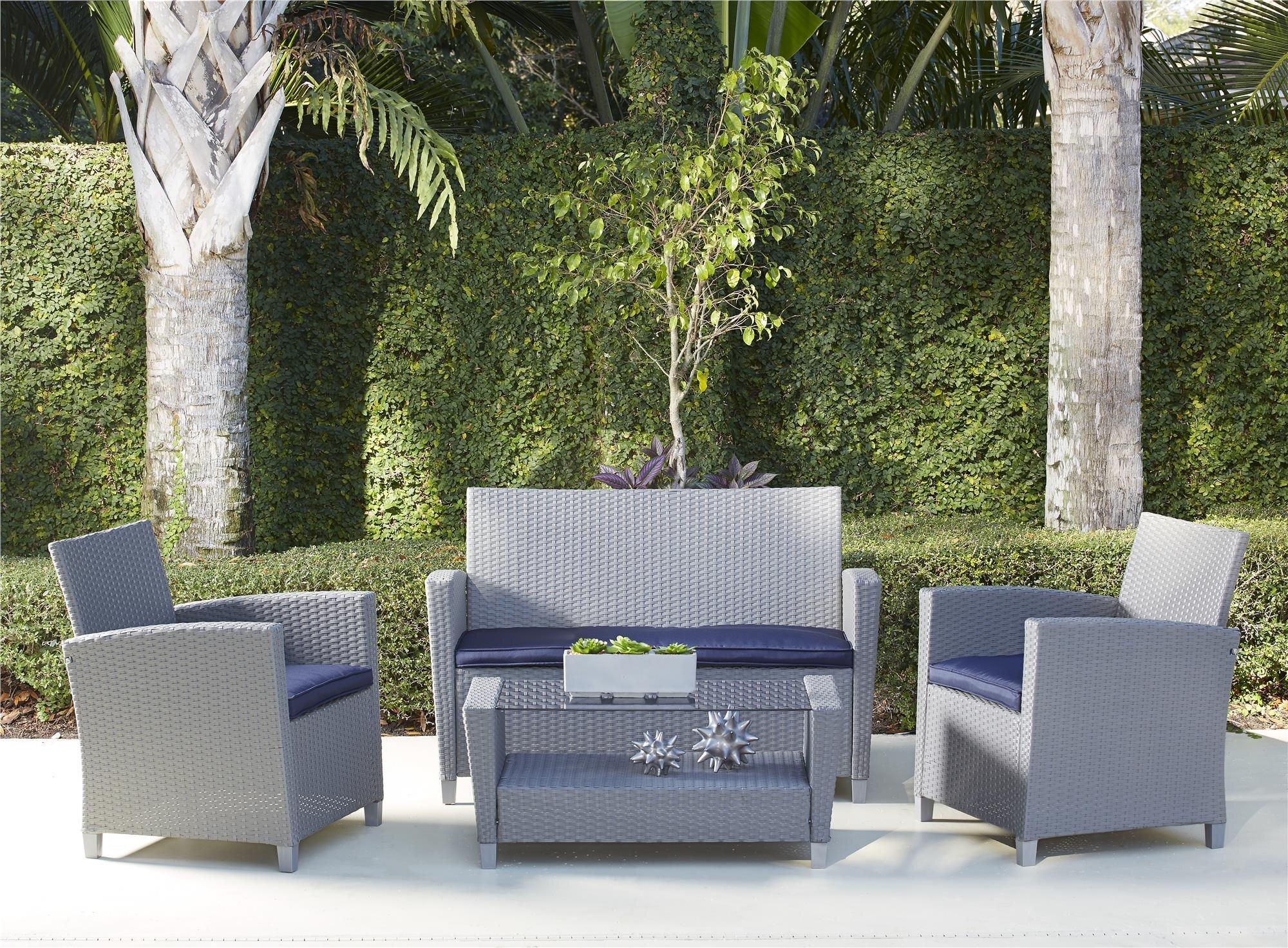Sol 72 Outdoor Lancashire 4 Piece Rattan Sofa Seating Group With Cushions Reviews Wayfair