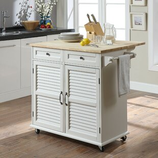 Ottery Kitchen Cart with Solid Wood Highland Dunes