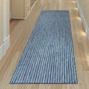 Desantiago Texture Stripe Navy Indoor/Outdoor Area Rug