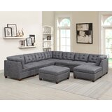 Abiya 134'' Reversible Modular Sectional with Ottoman by Ebern Designs
