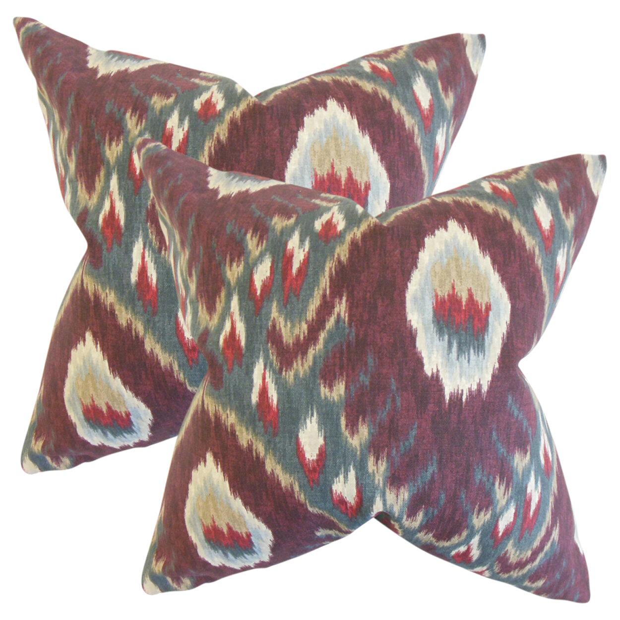 Bungalow Rose Shekhar Ruddy Ikat Cotton Throw Pillow Wayfair