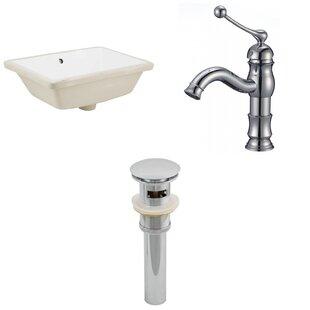 Savings CUPC Ceramic Rectangular Undermount Bathroom Sink with Faucet and Overflow ByRoyal Purple Bath Kitchen