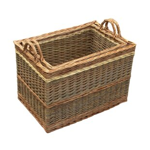 Hartste 2 Piece Willow Log Carrier Set By August Grove