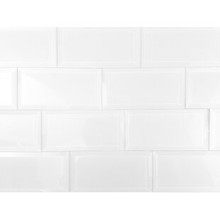 Frosted Elegance 3 x 6 Glass Peel & Stick Subway Tile in White by Abolos