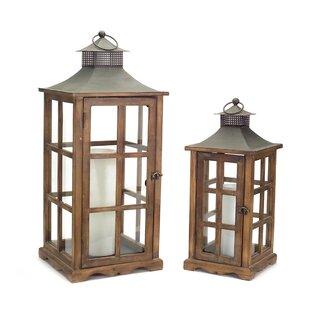 2 Piece Wood Metal Gl Lantern Set