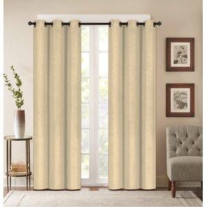 Benham Embossed Striped Blackout Grommet Curtain Panels (Set of 2)