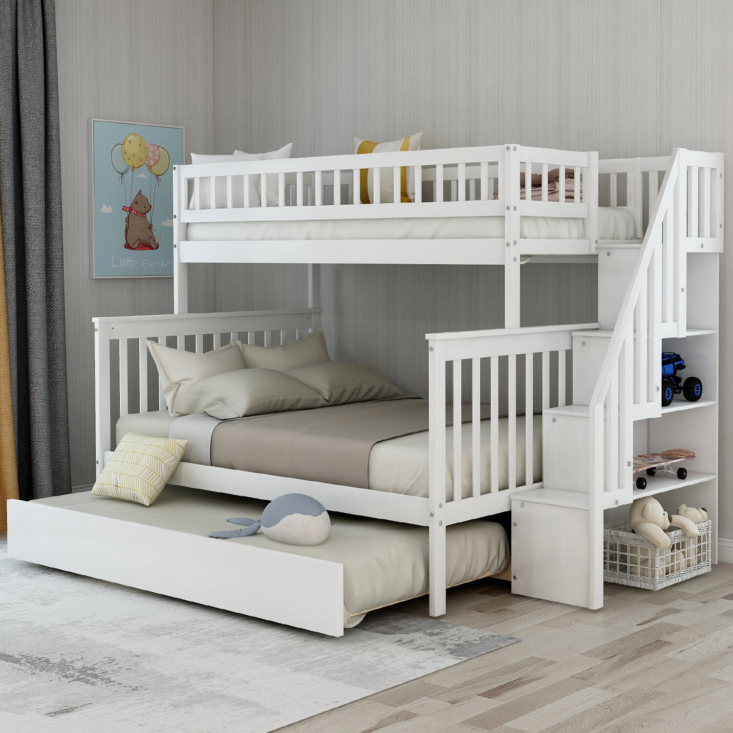 Picture of: Trule Ferrell Stairway Twin Over Full Bunk Bed With Trundle And Shelves Wayfair