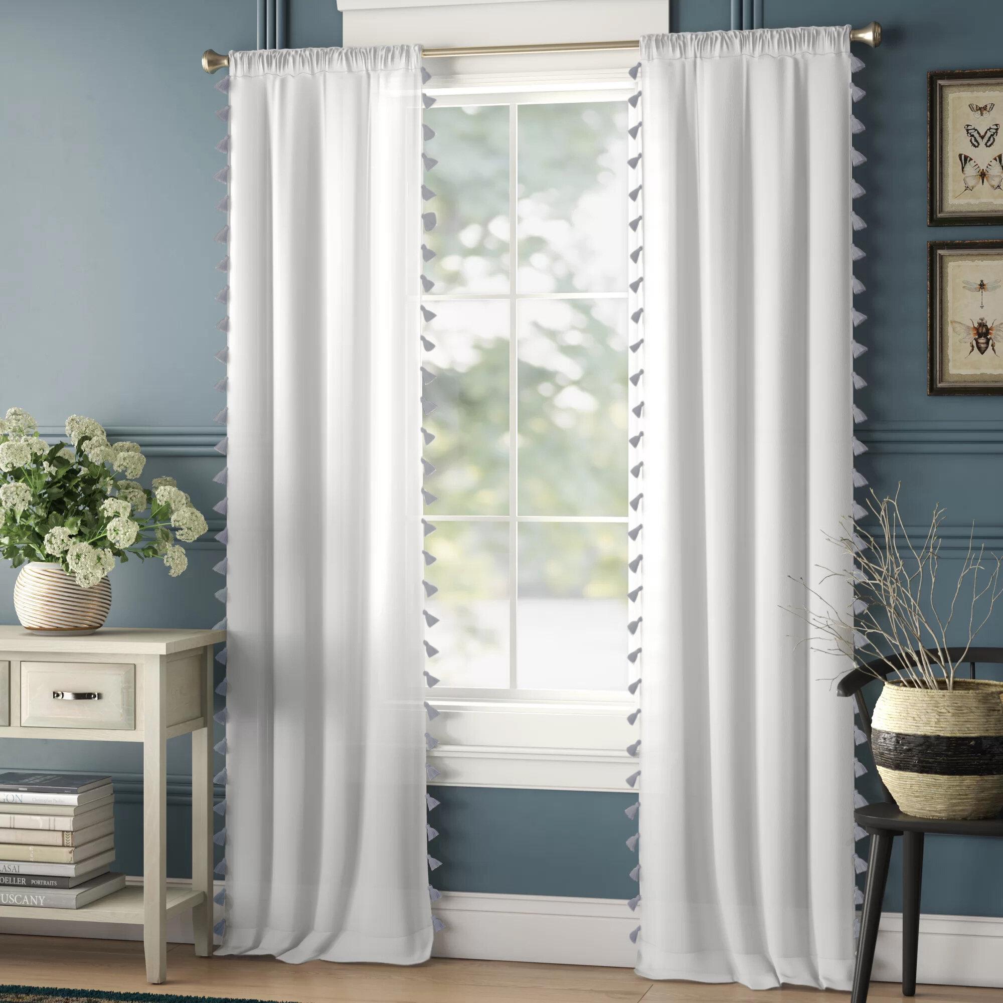 Alexis 100 Cotton Solid Semi Sheer Rod Pocket Single Curtain Panel Allmodern