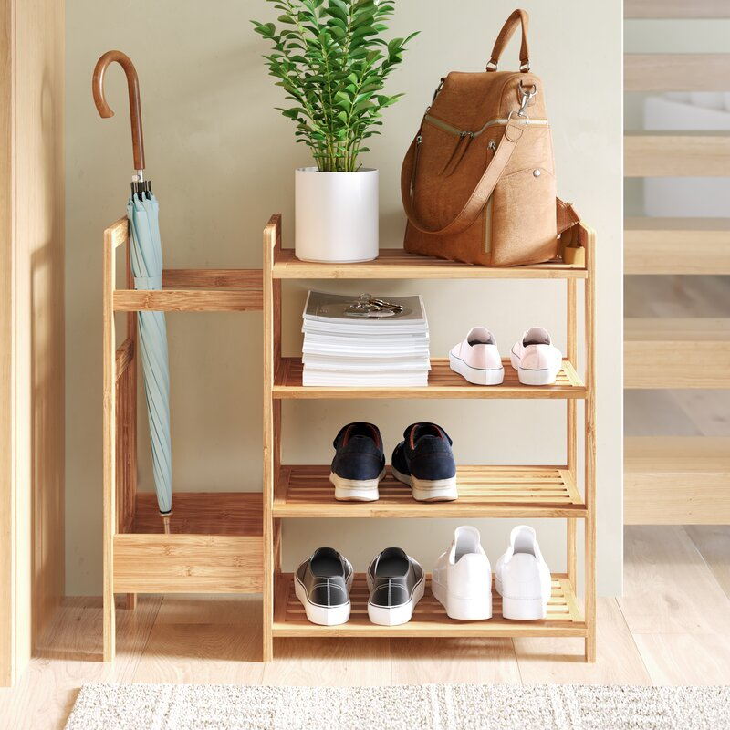 Dotted Line Bamboo Entryway 8 Pair Shoe Rack & Reviews