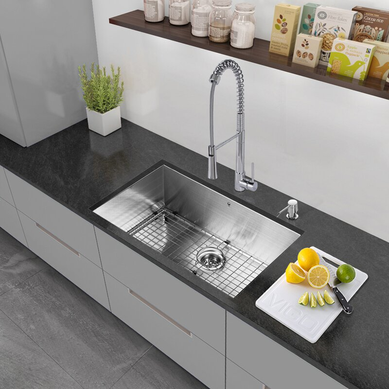 30   x 19   undermount kitchen sink with strainer     vigo 30   x 19   undermount kitchen sink with strainer and grid      rh   wayfair com