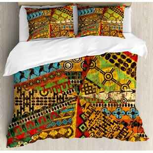 African Grunge Collage with Ethnic Motifs Tribal Ancient Traditional Art Ornate Geometric Duvet Cover Set