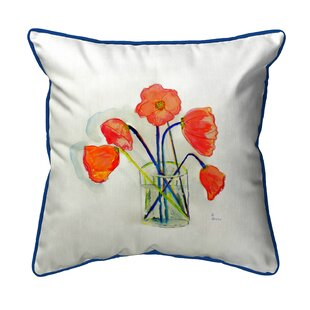 Simonds Poppies in Vase Indoor/Outdoor Throw Pillow