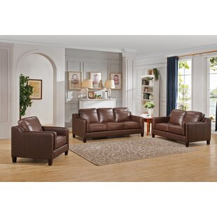 Katherine 3 Piece Leather  Living Room Set by Red Barrel Studio