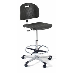 Height Adjustable Back Self Skin Laboratory Stool with Flat Base
