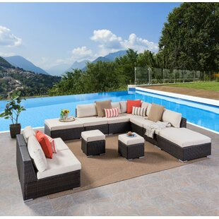 Jefcoat Outdoor 11 Piece Rattan Sectional Set with Cushions