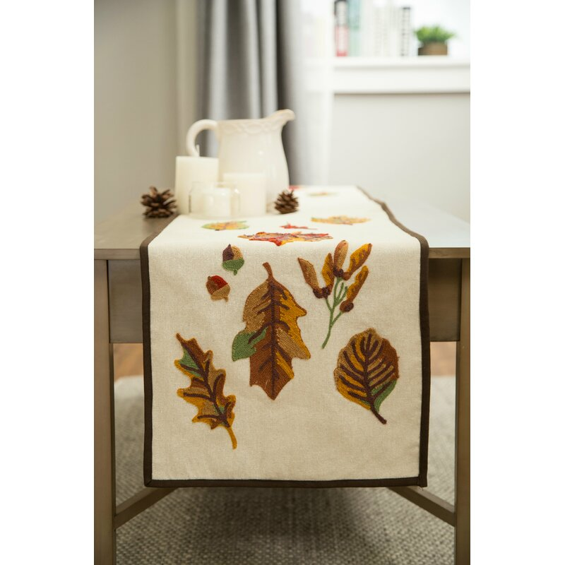 Carina Embroidered Fall Leaves Table Runner