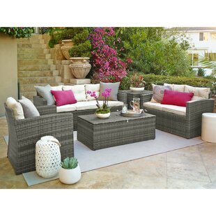 Suzanne 5 Piece Rattan Sofa Seating Group with Cushions