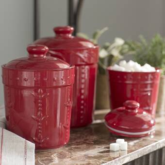 Lark Manor Genesee 3 Piece Kitchen Canister Set Reviews Wayfair Ca