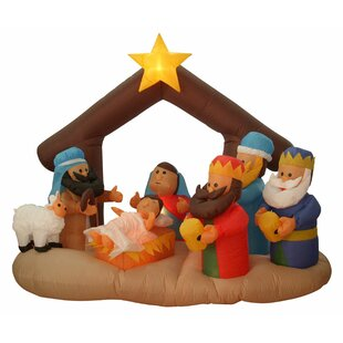 Outdoor lighted nativity scene wayfair nativity scene lighted christmas inflatable aloadofball Image collections
