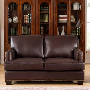 Owens Leather Loveseat by 17 Stories