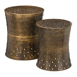 2 Piece Bronze Lotus Garden Stool Set by Regal Art & Gift