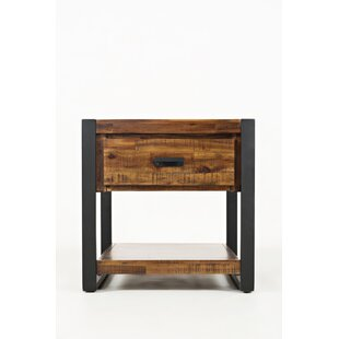 Campbell Wood and Metal End Table by Millwood Pines