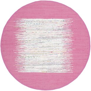 Thame Hand-Woven Cotton Pink/White Area Rug by Harriet Bee