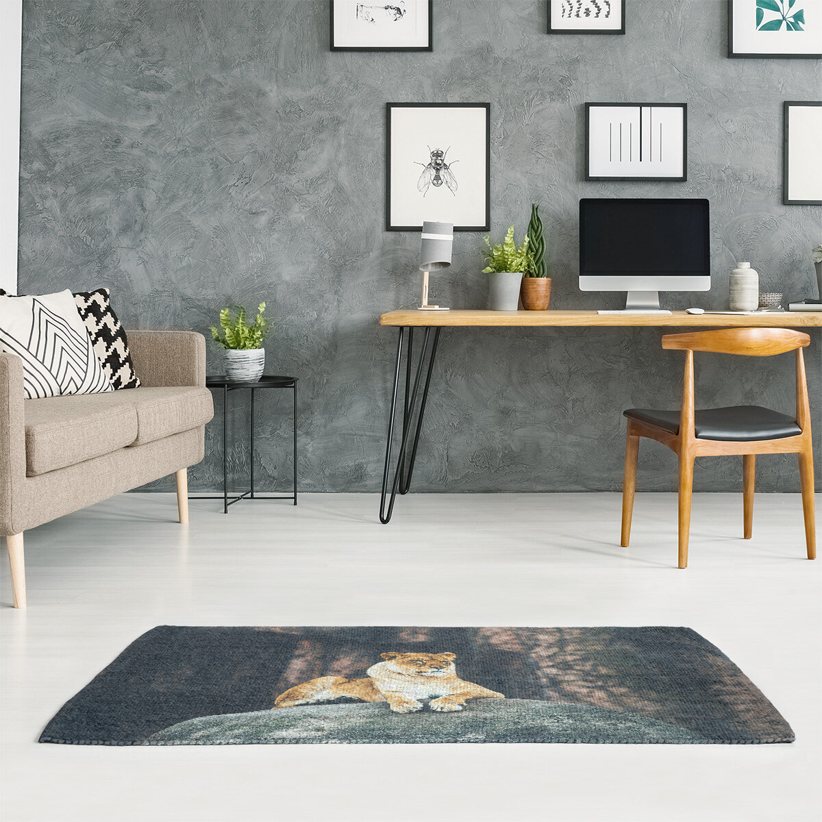 East Urban Home Lioness Chenille Beige Area Rug Wayfair