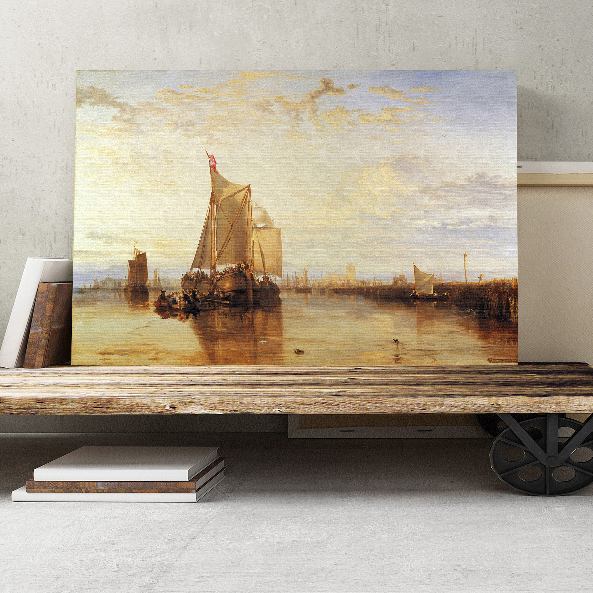 The Dort Packet Boat' by J M W  Turner Painting Print on Canvas
