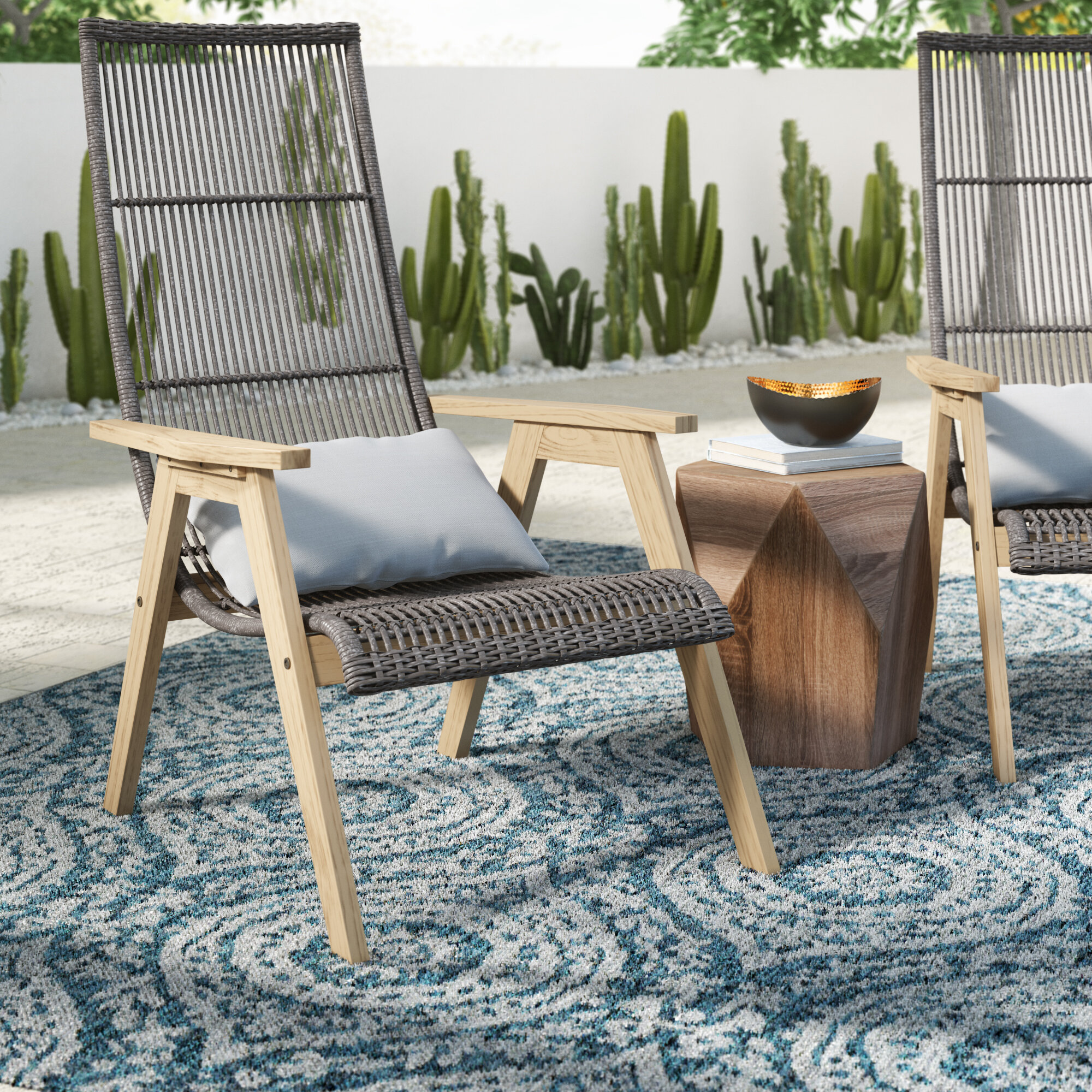 Allstate Patio Furniture.Largent Teak Patio Chair With Cushions