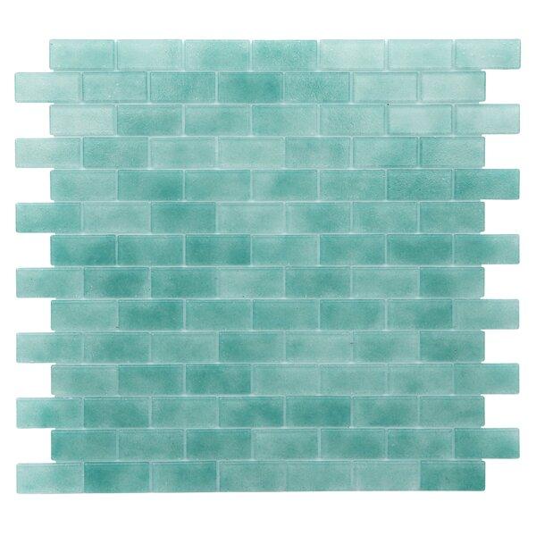 Kellani Quartz 075 X 163 Glass Mosaic Tile In Aqua Green