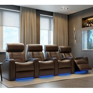 Latitude Run Diamond Stitch Home Theater Row Seating with Chaise Footrest (Row of 4)