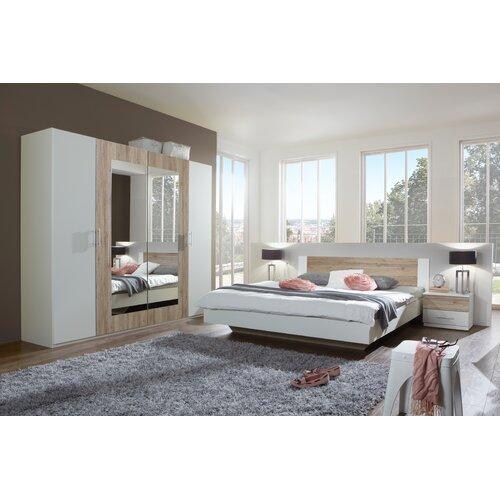 4-tlg. Schlafzimmer-Set Franziska | Schlafzimmer > Komplett-Schlafzimmer | Alpinweiß / san remo-eiche | Eiche - Sägerau | Wimex