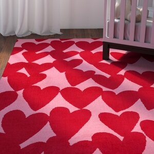 Daisy Confectionary Valentine Machine Tufted Red/Pink Area Rug