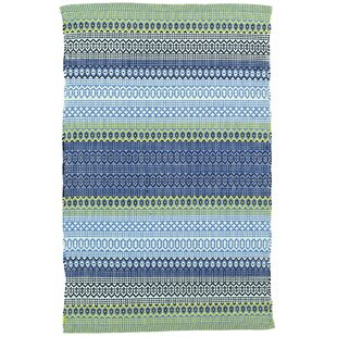 Fiesta Stripe French Blue/Green Indoor/Outdoor Area Rug