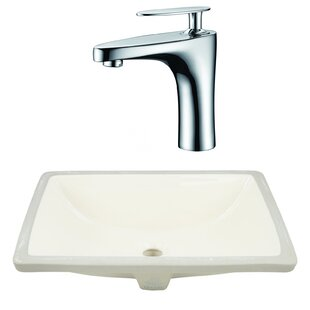 American Imaginations Ceramic Rectangular Undermount Bathroom Sink with Faucet and Overflow