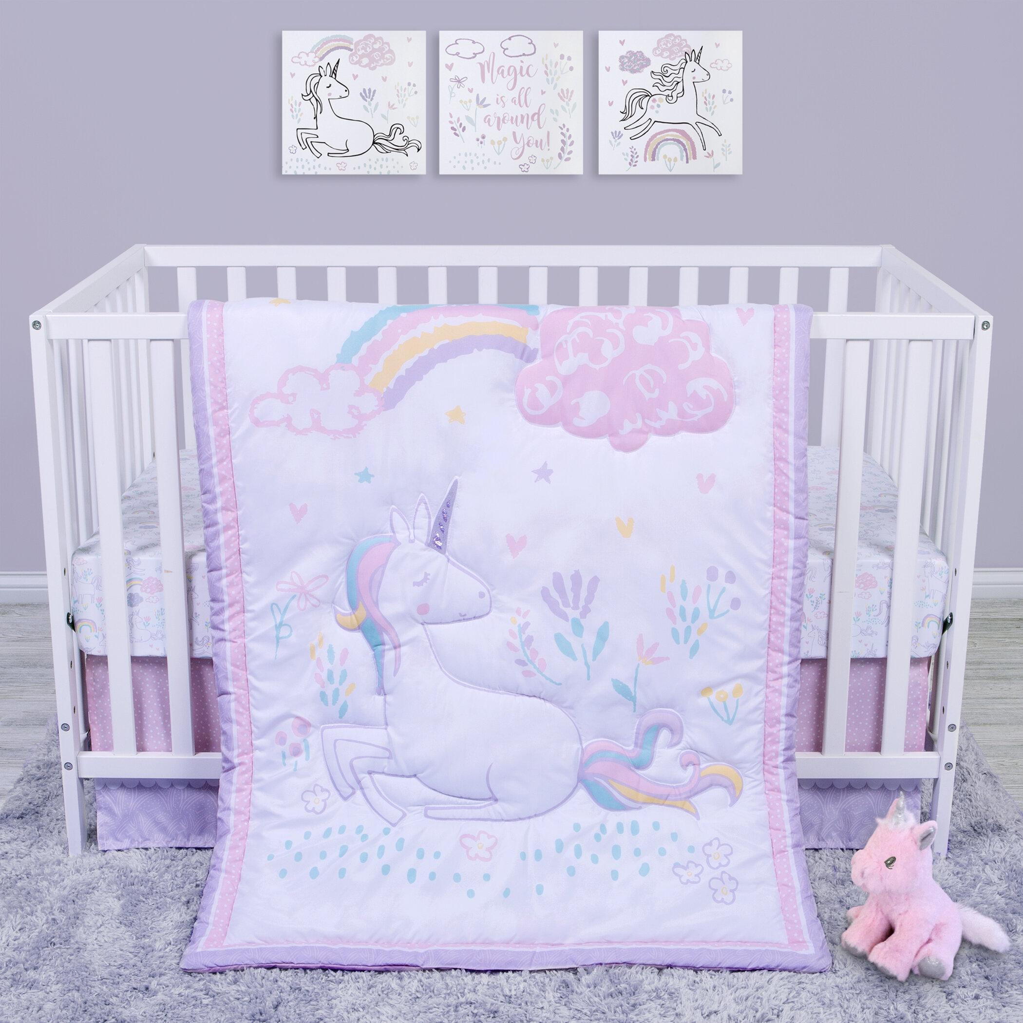 Purple Harmony 9 Pc Crib Bedding Set by NoJo Newborn Baby Girl Gift Set Flower