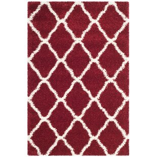 Affordable Price Melvin Shag Red/White Area Rug By Charlton Home