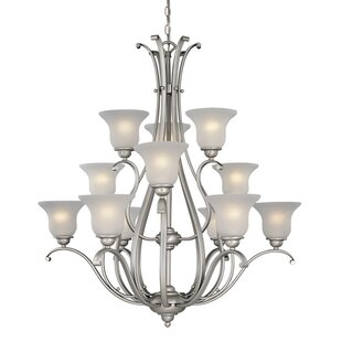 Three Posts Enfield 12-Light Shaded Chandelier