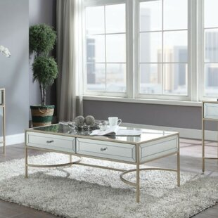 Shelbie Modern Rectangular Metal and Mirror Coffee Table with Storage by Everly Quinn