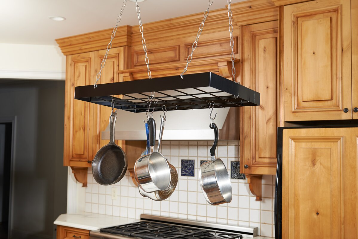 accessories hanging rilane pan black pot and organizer rack