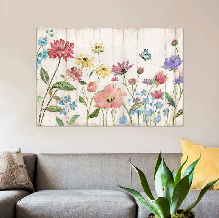 'Wildflower Flutter on Wood' Graphic Art Print on Canvas
