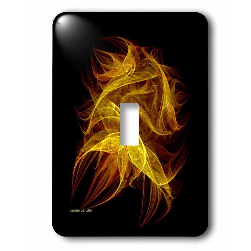 3dRose Flickering Flames - Fractal Art 1-Gang Toggle Light ...